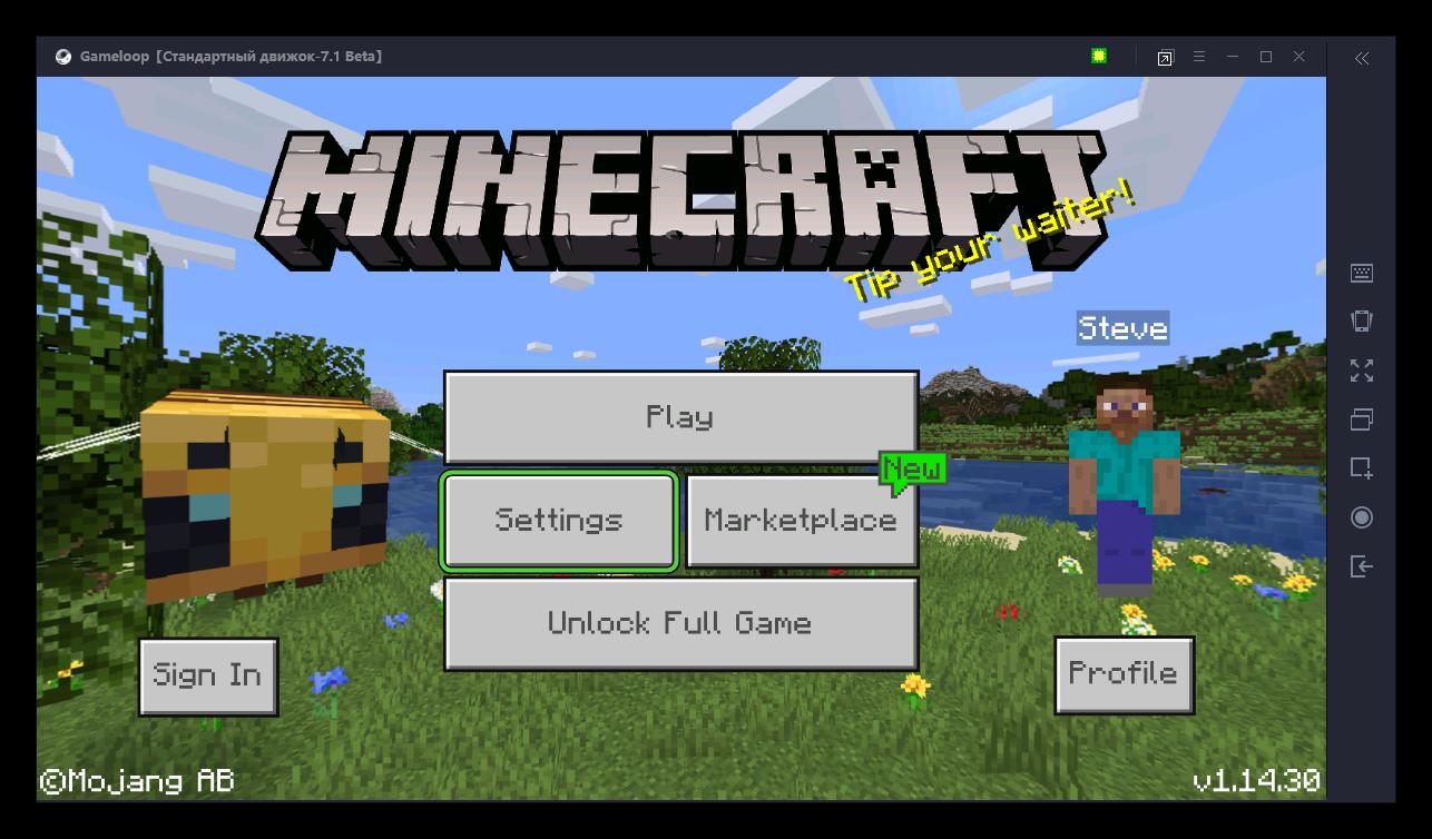 Кнопка Settings в Minecraft