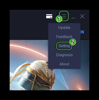 Пункт Settings в английской версии эмулятора
