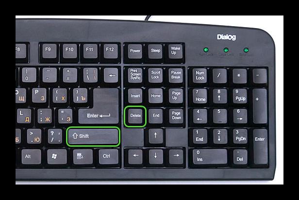 Комбинация клавиш Shift + Delete на клавиатуре